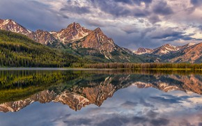 Picture forest, mountains, lake, reflection, Rocky mountains, Rocky Mountains, Idaho, Idaho, Stanley Lake, Озеро Стэнли, Пик …