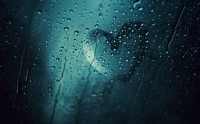 Picture glass, drops, heart