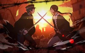 Picture sunset, guys, swords, Vocaloid, Vocaloid