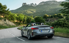 Picture mountains, grey, rocks, vegetation, turn, BMW, Roadster, BMW Z4, M40i, Z4, 2019, G29