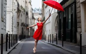 Wallpaper girl, street, umbrella, in red