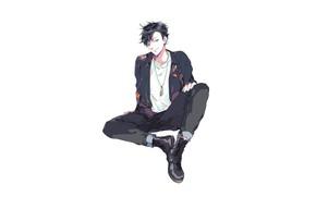 Picture style, minimalism, guy, sitting, Volleyball, Haikyuu, KURO Tetsuro