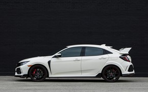 Picture white, wall, Honda, side view, hatchback, the five-door, 2019, Civic Type R, 5th gen, FK8
