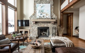 Picture Villa, interior, fireplace, living room, western country style
