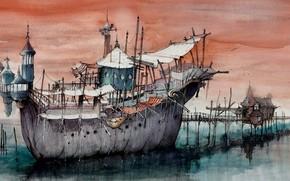 Picture figure, ship, pier