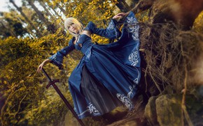 Picture forest, look, girl, blue, roots, pose, style, stones, weapons, pattern, sword, blonde, costume, image, Asian, …