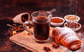 Picture coffee, Breakfast, powdered sugar, spices, croissan