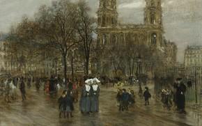 Picture picture, the urban landscape, Jean-Francois Raffaelli, Jean-François Raffaëlli, Place Saint-Sulpice. Paris