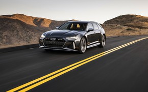 Picture road, the sky, Audi, markup, hills, universal, RS 6, 2020, 2019, dark gray, V8 Twin-Turbo, …