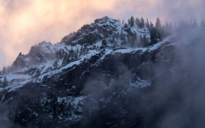 Picture winter, the sky, snow, trees, sunset, mountains, nature, fog, rocks, the evening