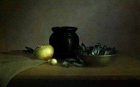 Picture table, texture, bow, pot, shell, mussels