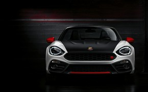 Picture background, Roadster, front view, dark, spider, black and white, double, Abarth, 2016, 124 Spider
