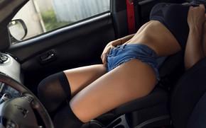 Picture girl, sexy, pose, model, shorts, chair, figure, lies, knee, t-shirt, car, salon, Alex Bazilev