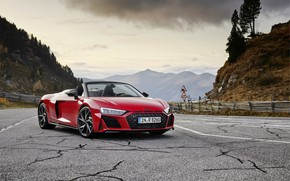 Picture mountains, Audi, Audi R8, Spyder, V10, 2020, RWD