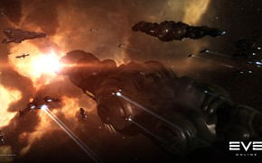 Picture nebula, asteroids, Space, space, battle, spaceship, eve online, battle, space ship, coooper