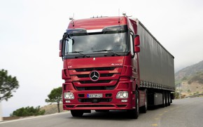 Picture road, red, Mercedes-Benz, 2007, tractor, 4x2, Actros, the trailer