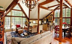 Picture Villa, interior, kitchen, living room, dining room, cozy timber homes