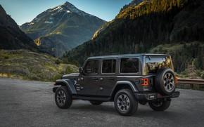 Wallpaper vegetation, the slopes, side view, 2018, Jeep, dark gray, Wrangler Sahara