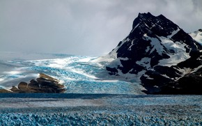 Picture ice, the sky, clouds, snow, clouds, nature, rock, overcast, glacier, Patagonia