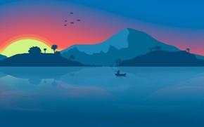 Picture Background, Lake, House, River, Mountains, Birds, Fisherman, Dawn, House, Minimalism, Fishing, Sunset, Boat