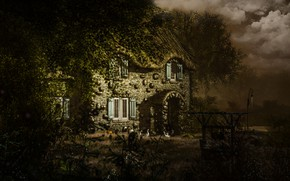 Picture the storm, summer, the sky, light, trees, landscape, birds, branches, nature, house, rendering, foliage, Windows, …