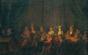 Picture oil, picture, canvas, 1737, Жан Батист Ван Мур, Jean Baptiste Vanmour, Армяне играют в карты