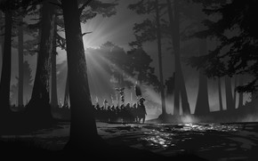 Picture Trees, Forest, Soldiers, Art, Art, Stroy, Legion, Legion, Black and White, Forest, Soldiers, Warriors, Roman, …