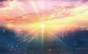 Picture the sun, sunset, the city, by JW