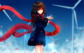 """Picture look, scarf, girl, Kagerou Project, The project """"hot Fog"""""""
