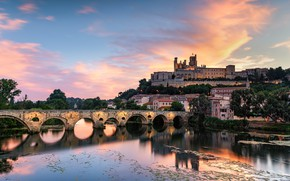 Picture the sky, clouds, trees, bridge, the city, reflection, river, shore, France, view, building, home, arch, …