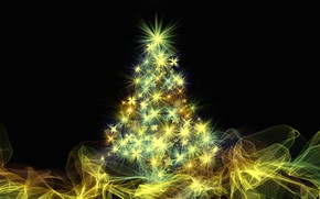 Picture stars, light, line, abstraction, lights, vector, lights, New year, tree, black background, herringbone, garland, elegant, …