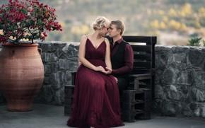 Picture girl, romance, pair, vase, guy, bench, tree, lovers, Кузнецова Виктория