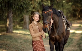 Picture girl, trees, nature, animal, horse, horse, dress, jacket, alley, Rus, Victoria Dubrovskaya