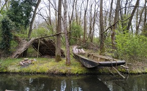 Picture river, boat, Alsace