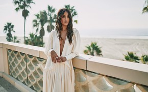 Picture sea, look, girl, decoration, pose, dress, actress, brown hair, beauty, Eiza Gonzalez