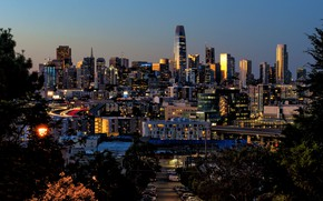 Picture lights, the evening, CA, San Francisco, USA, skyline