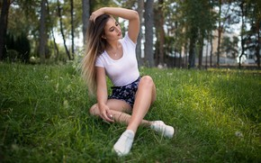 Picture grass, nature, Girl, Dmitry Shulgin