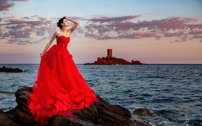 Picture sea, the sky, look, girl, sunset, pose, style, dress, fortress, beautiful, Bruno Birkhofer