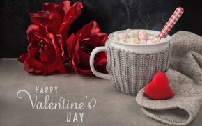Picture flowers, hot, chocolate, Cup, Valentine's day, marshmallows, Anya Ivanova