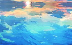 Picture sea, the sky, girl, the sun, horizon