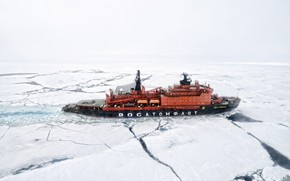 Picture The ocean, Sea, Ice, Icebreaker, The ship, Russia, Ice, 50 years of Victory, Atomflot, Arktika-class, …