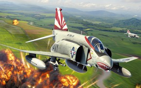 Picture fighter-bomber, artwork, double, US NAVY, third generation, McDonnell Douglas F-4 Phantom II, long-range fighter-interceptor, Antonis …