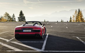 Picture mountains, Audi, Parking, Audi R8, rear view, Spyder, V10, 2020, RWD