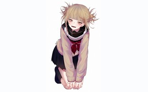 Picture look, girl, pose, smile, white background, Boku no Hero Academy, My heroic academia, Toga Himiko