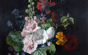 Picture flowers, snail, buds, mallow