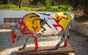 Picture paint, cow, sculpture