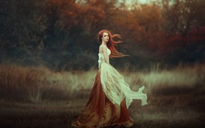 Picture FOREST, GRASS, DRESS, AUTUMN, CURLS, RED