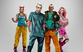 Picture style, background, girls, guys, Cyberpunk 2077, Cyberpunk 2077