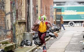Picture street, clown, Joker, runs, Joker, Joaquin Phoenix, Joaquin Phoenix