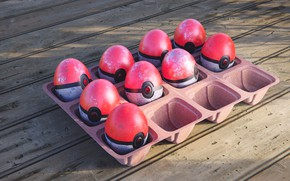Picture eggs, Easter, Pokebol
